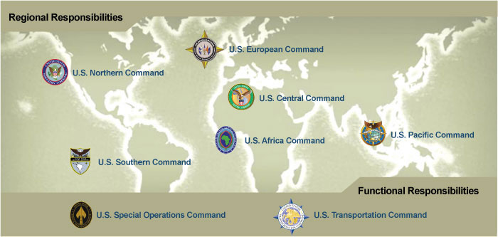 unified combatant commands green world map with seals